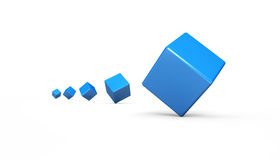 Tumbling blue 3D cubes isolated Royalty Free Stock Photos