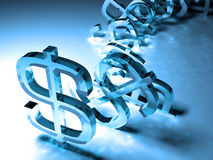 Tumbling dollar signs. Money-building and success concept Stock Images