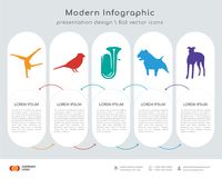 Tumbling infographics design. Infographics design  and black tumbling, black cardinal bird, tuba, black pit bull, black greyhound icons can be used for workflow Royalty Free Stock Image