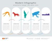 Tumbling infographics design. Infographics design  and black tumbling, black pit bull, black female golfer, black frog, black new orleans icons can be used for Stock Image