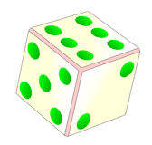 Tumbling Ivory Dice. A tumbling dice over a white background Royalty Free Stock Image
