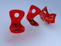 Tumbling plastic chair. A chair tumbled to the left, all in one shot Royalty Free Stock Photo