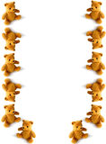 Tumbling teddies. Teddies tumbling down the page Royalty Free Stock Images