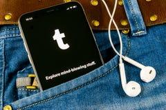 Tumblr plus applikationsymbol på närbild för skärm för smartphone för Apple iPhone X i jeans stoppa i fickan Tumblr plus app-symb Royaltyfria Foton