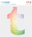 Tumblr polygonal symbol. Bewitching mosaic style symbol. ecstatic low poly style. Modern design. tumblr icon for infographics or presentation Stock Photos