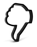 Tumbs Down. Thumbs down symbol. Three-dimensional black icon isolated on white. Part of a series Royalty Free Stock Image