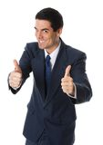 Tumbs up!. Businessman on white background with his 2 thumbs up royalty free stock images