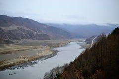 Tumen Jilin landskap, Kina, flod gräns mellan Nordkorea och Kina arkivfoto