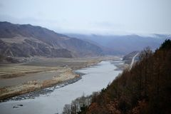 Tumen, Jilin province, China, river border between North Korea and China stock photo