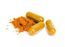 Tumeric capsule. Stock Photo