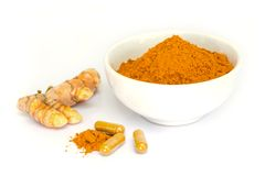 Tumeric capsule. Stock Photos