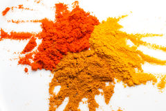 Tumeric, curry, and chilly powder. 3 key spices used widely in Malay, Malaysian, Asian cooking Stock Photo
