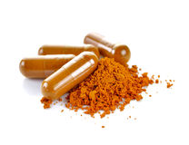 Tumeric powder capsules Stock Photo