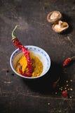 Tumeric powder and red hot chili pepper Stock Photos