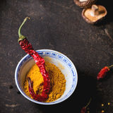 Tumeric powder and red hot chili pepper Royalty Free Stock Image