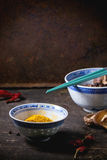 Tumeric powder and shiitake mushrooms Royalty Free Stock Photography