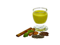 Tumeric Smoothie with cinnamon, flax and chia seed Royalty Free Stock Photos