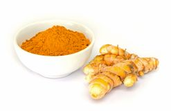 Tumeric and tumeric  powder. Royalty Free Stock Photos
