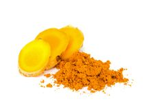 Tumeric and tumeric  powder. Royalty Free Stock Photo
