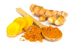 Tumeric and tumeric  powder. Royalty Free Stock Images
