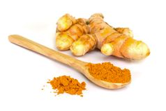 Tumeric and tumeric  powder. Royalty Free Stock Image