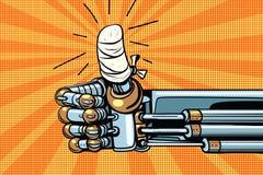 Tumma upp som gest, robothanden förbindas royaltyfri illustrationer