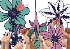 Tummar blommar upp vektor illustrationer