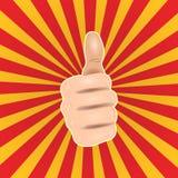 Tummar för popkonst upp handen gillar Bra handgest, för stilvektor för reko symbol komisk illustration stock illustrationer