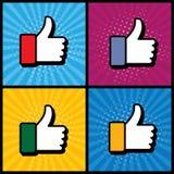 Tummar för popkonst upp & som handsymbolet som används i socialt massmedia - vect Arkivbilder