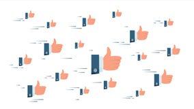 Tummar fördunklar upp vektorn Flygaffärsman Hands Det sociala massmedia gillar symboler som knyter kontakt begrepp isolerad knapp stock illustrationer