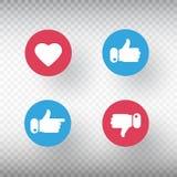 Tummar upp och tummar ner, hjärtateckenuppsättningen som symbol Social massmediabeståndsdel Ljusa knappar med användareåterkoppli stock illustrationer