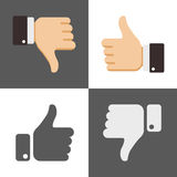 Tummar upp och ner, som motviljasymboler för socialt nätverk stock illustrationer