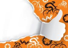 Tummar upp rivit sönder papper med att cykla symboler royaltyfria bilder