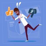 Tumme för afrikansk amerikanmanhåll uppåt- och neråt den moderna videopd kanalen för BloggerVlog skapare vektor illustrationer