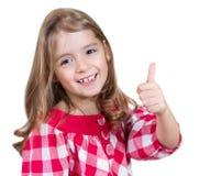 Tumme för ok för Chil flickatecken som isoleras upp Royaltyfri Foto