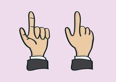 Tumme- och pekfingerhandgesten beskådar framme och tillbaka Fotografering för Bildbyråer