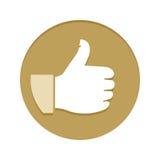 Tumme upp guld- plan symbol Royaltyfria Bilder