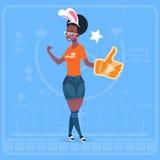 Tummen för afrikansk amerikanflickahållen upp den moderna videopd kanalen för den BloggerVlog skaparen gillar stock illustrationer