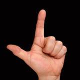 Tummen och pekfingret på handen för man` s Konto till två Royaltyfri Foto