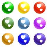 Tummen upp hjärtasymboler ställde in vektorn stock illustrationer