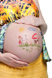 Tummy with drawing Royalty Free Stock Photo