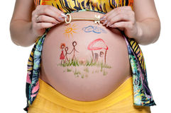 Tummy with drawing Stock Photo