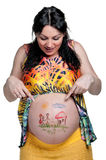 Tummy with drawing Royalty Free Stock Images