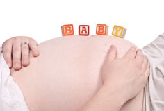 Tummy and hands Royalty Free Stock Photo