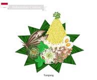 Tumpeng eller indonesisk kotte formade ris med blandade indonesiska Foods stock illustrationer