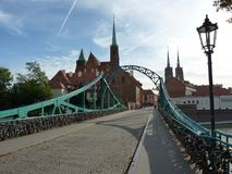 Tumski bridge, Ostrow Tumski, Wrocław. Collegiate church and cathedral. Gothic temple of Wroclaw. stock image