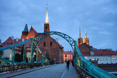 Tumski Bridge in Wroclaw at Dusk Royalty Free Stock Image