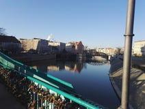Tumski Bridge, Wroclaw, Poland. A photo taken on January 2017 shows padlocks on Tumski Bridge on the river Oder in Wroclaw, Poland Stock Photography