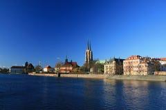 Tumski d'Ostrow, wroclaw, Pologne Photographie stock libre de droits