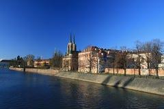 Tumski de Ostrow, wroclaw, Polonia Foto de archivo